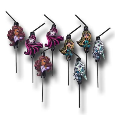8 schwarze Trinkhalme mit Motiven der Monster High Stars.