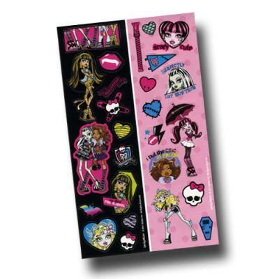8 Mitgebsel Stickerbögen mit Motiven für den Kindergeburtstag Monster High.