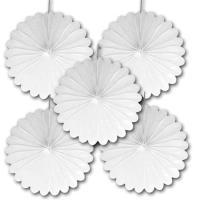 5 weiße Deko Rosetten (Dekofächer)