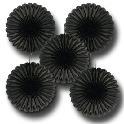 5 schwarze Deko Rosetten (Dekofächer)