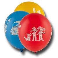 5 bunte Kindergeburtstag Luftballons mit Polizei Motiven