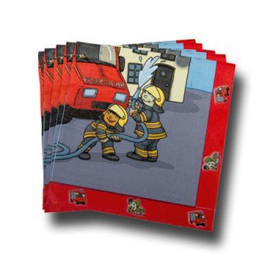 20 Papierservietten mit Motiv für den Kindergeburtstag Feuerwehr.