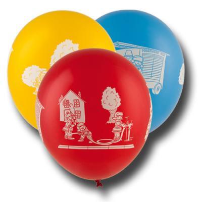 8 bunte Kindergeburtstag Luftballons mit Feuerwehr Motiven