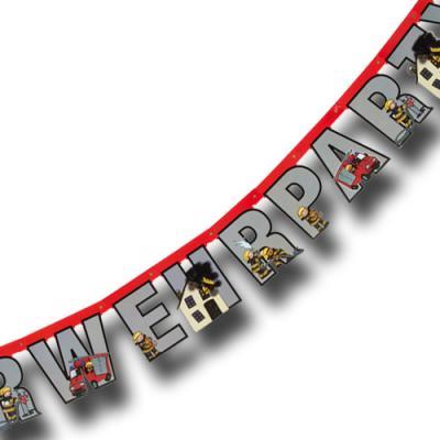 Buchstabenkette mit HAPPY BIRTHDAY Schriftzug und Feuerwehr Motiv für die passende Kindergeburtstag Mottoparty.