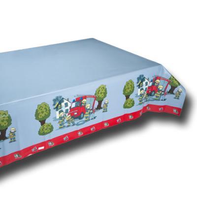 1 Tischtuch mit Motiv für den Kindergeburtstag Feuerwehr.