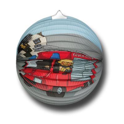 Lampions mit Feuerwehr Motiv für die Kindergeburtstag Mottoparty.