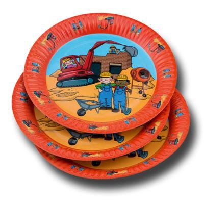 8 Pappteller mit Baustelle Motiv für einen bunten Kindergeburtstag.