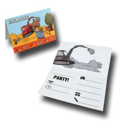 8 Einladungskarten für den Kindergeburtstag mit Baustelle Partymotto.