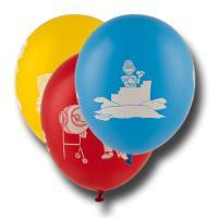 8 bunte Kindergeburtstag Luftballons mit Baustellen Motiven