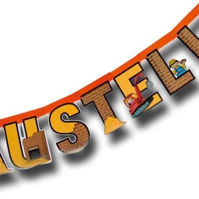 1 Buchstabenkette mit HAPPY BIRTHDAY Schriftzug für den Kindergeburtstag Baustelle.