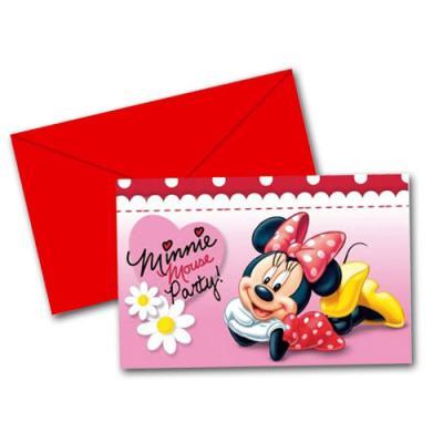 6 pinke Einladungskarten mit Umschlägen für den Kindergeburtstag mit Minnie Mouse Partymotto.