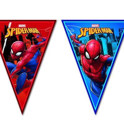 1 Wimpelkette aus Kunststoff mit Spiderman Motiven für die Kindergeburtstag Mottoparty.