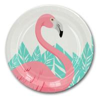 8 weiße Pappteller mit rosa Flamingo und grünen Blättern...