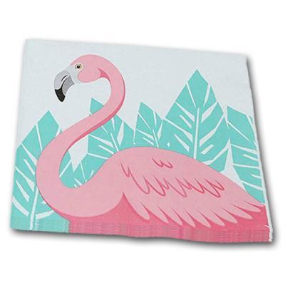 20 Motivservietten mit rosa Flamingo und grünen Blättern.