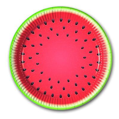 8 Pappteller mit Wassermelonen Motiv für Ihre Mottparty.