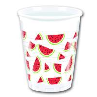 8 weiße Plastikbecher mit rot-grünen Wassermelonen Motiven