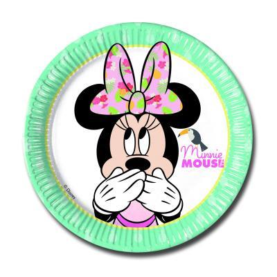 8 türkise Pappteller mit Minnie Mouse Motiv für den Mädchen Kindergeburtstag.