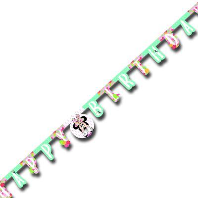 1 Kindergeburtstag Buchstabengirlande HAPPY BIRTHDAY mit Minnie Mouse Motiven.