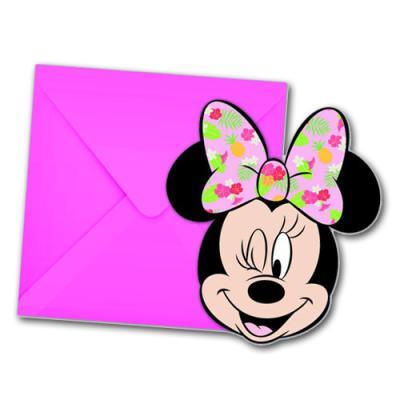6 Kindergeburtstag Minnie Mouse Motiv Einladungskarten mit Umschlägen