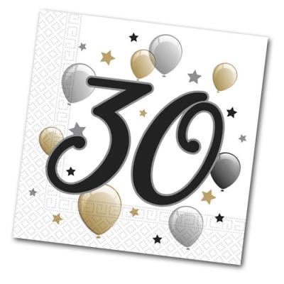 20 Papierservietten mit 30er Aufdruck für die Jubiläums Geburtstagsparty.