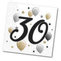 20 Papierservietten mit 30er Aufdruck für die Jubiläums...