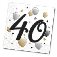 20 Papierservietten mit 40er Aufdruck für die Jubiläums...