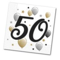 20 Papierservietten mit 50er Aufdruck für die Jubiläums...