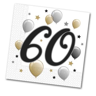 20 Papierservietten mit 60er Aufdruck für die Jubiläums Geburtstagsparty.