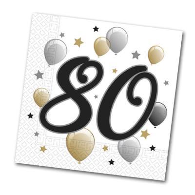 20 Papierservietten mit 80er Aufdruck für die Jubiläums Geburtstagsparty.
