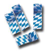4 Rollen Dekokrepp als Oktoberfest Deko in blau und weiß.
