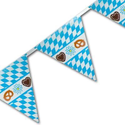 1 Kunststoff Motiv-Wimpelkette mit bayrischer Raute für die Oktoberfest Dekoration.