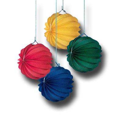 4 Minilampions in blau, gelb, rot und grün für eine originelle Partydekoration