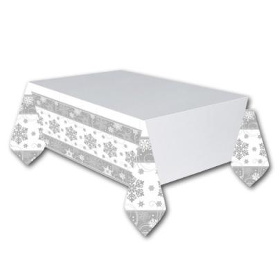 Weißes Papiertischtuch mit silbernen Schneeflockenmotiven.137 x 259 cm (3,54 m²)