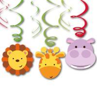 3 Dekospiralen mit Löwe, Giraffe und Flusspferd Motiv...