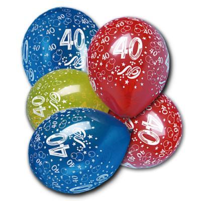 5 farbige Luftballons mit Zahl 40 Aufdruck für die bunte Geburtstagsdeko.