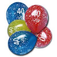 5 farbige Luftballons mit Zahl 40 Aufdruck für die bunte...