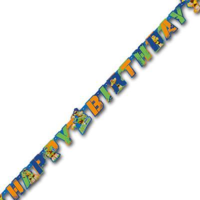 1 Partykette mit Teenage Mutant Ninja Warriors Motiven und HAPPY BIRTHDAY Schriftzug.