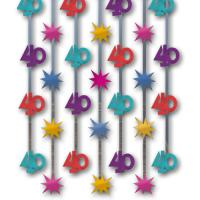1 Dekovorhang mit bunten 40er-Motiven und Sternen aus...