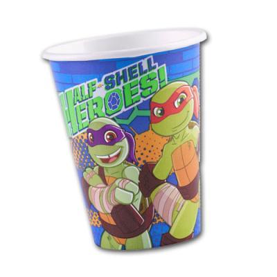 8 Kindergeburtstag Pappbecher mit Motiv der Teenage Mutant Ninja Turtles.