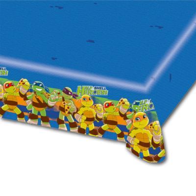 1 Tischtuch mit buntem Teenage Mutant Ninja Turtles Motiv für einen Comic Kindergeburtstag.