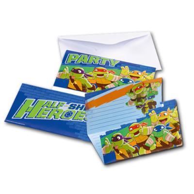 6 Einladungskarten für den Kindergeburtstag mit Partymotto Teenage Mutant Ninja Turtles.