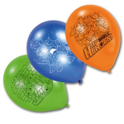 6 orange, blaue und grüne Kindergeburtstag Luftballons mit Teenage Mutant Ninja Turtles Motiven.