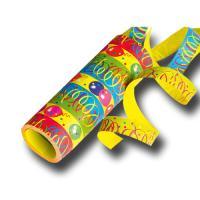 Bunte Papier Riesen-Luftschlangen mit Partydeko Motiven.