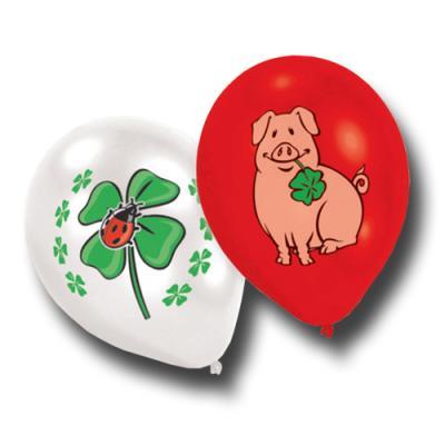 8 rote und weiße Luftballons mit Glücksbringermotiven Schweinchen und Glücksklee.