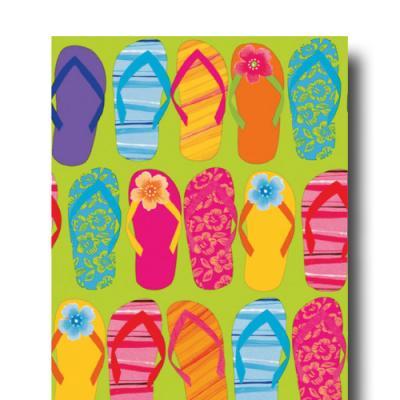 Buntes Papiertischtuch mit FlipFlop Motiven für Ihre Beachparty.