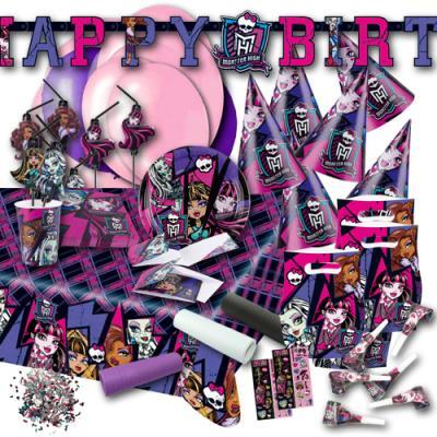 Kindergeburtstag Partyset XXL mit Partydeko und Partygeschirr für die Monster High Mottoparty.