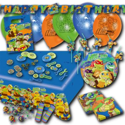 Großes Partyset mit Partygeschirr und Partydeko für den Kindergeburtstag im Teenage Mutant Ninja Turtles Design.