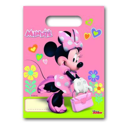 Rosa Partytaschen mit Minnie Mouse Motiv, für die Mitgebsel und Partygeschenke bei der Kindergeburtstag Mottoparty.