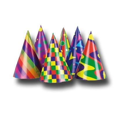 Bunte Partyhütchen für eine klassische Partydekoration, Tischdekoration oder Verkleidung.