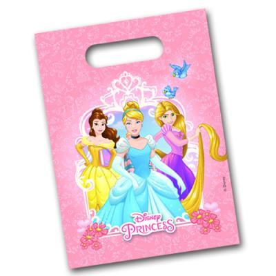 6 rosa Partytaschen für die Mitgebsel bei der Mottoparty zum Kindergeburtstag Prinzessin.